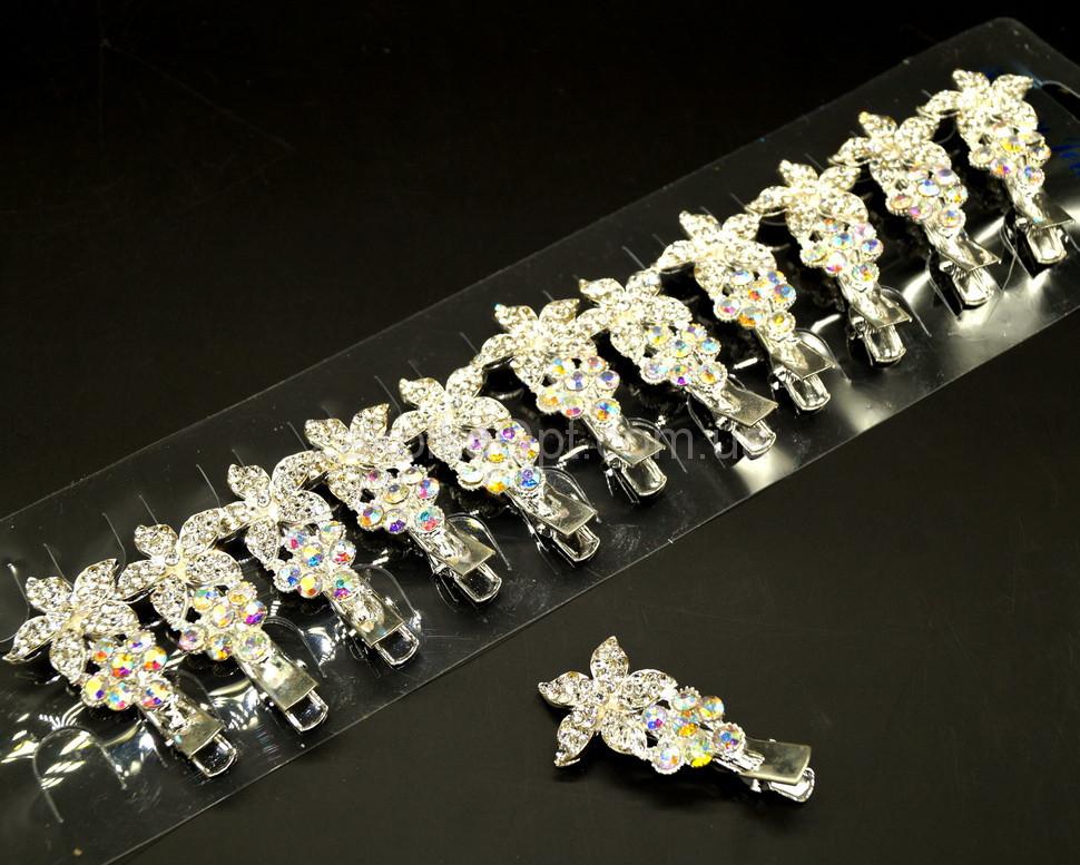 578e99f08a01 Заколка-уточка с-ро метал, два цветочка камушки белые+хамелион 1-5.8-18